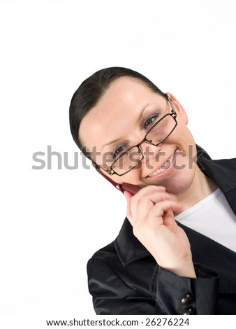 woman calling by phone on white background