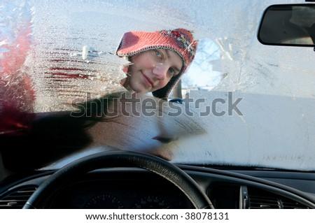woman, car, winter - stock photo