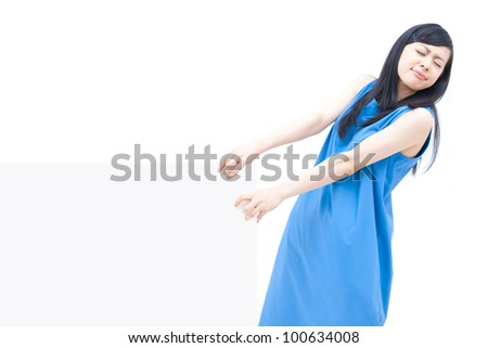 Woman carrying blank billboard, isolated on white background. - stock photo