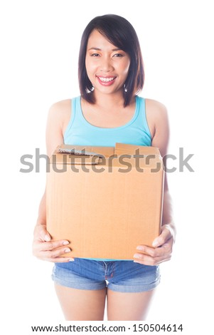 Woman carrying moving boxes on white background - stock photo