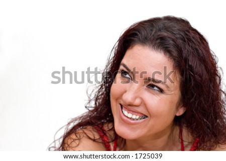 Woman casual smile. Copy space. - stock photo