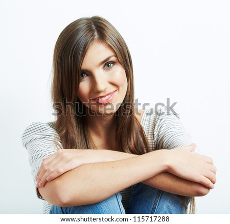 Woman casual style fashion portrait . isolated. close up female face.