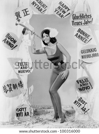 Woman celebrating New Year - stock photo