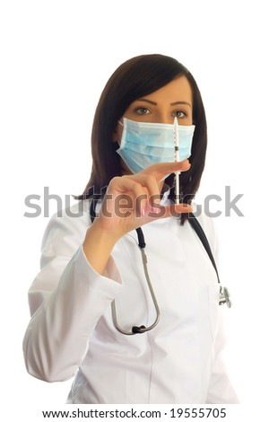 Woman checking syringe isolated on the white