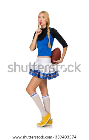 Woman cheerleader isolated on the white - stock photo