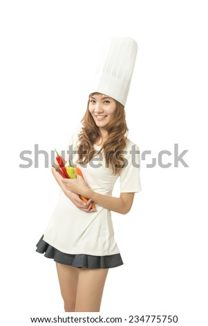woman chef cooking  - stock photo