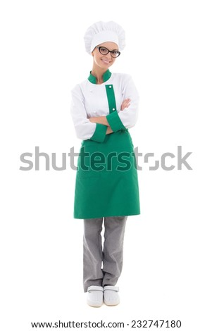 woman chef in uniform - full length posing isolated on white background - stock photo