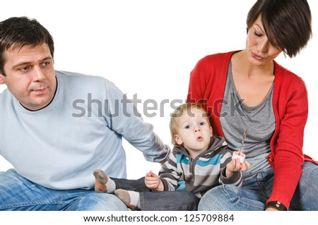woman child and man on white background