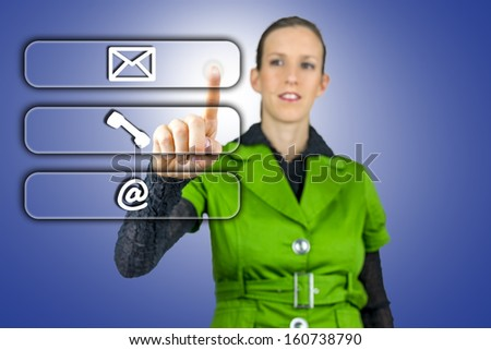 Woman choosing between three contacts. Mail, Email and Phone. - stock photo