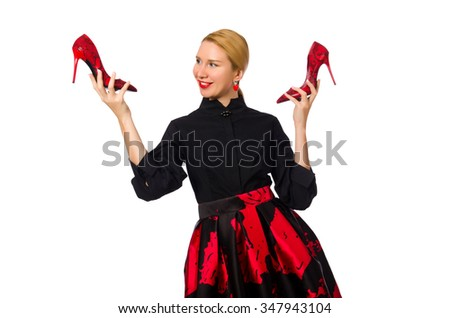 Woman choosing shoes isolated on white - stock photo