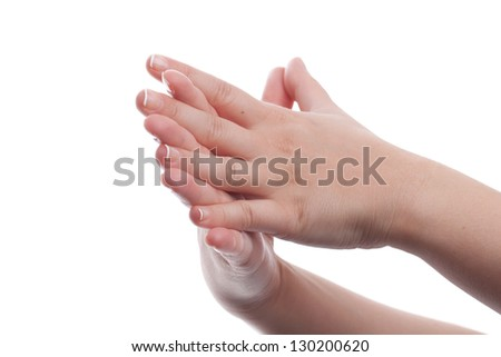 Woman clapped hands isolated on white