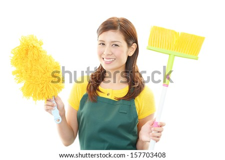 Woman cleaning - stock photo