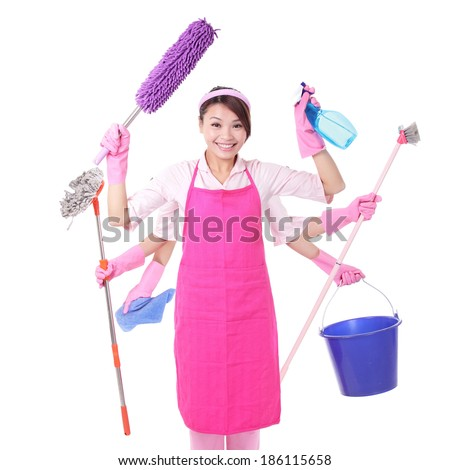 Woman cleaning. Happy smile female housewife isolated on white background. asian - stock photo