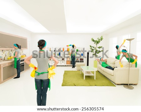 woman cleaning house at the same time in different places while one is supervising progress and one rests on couch - stock photo