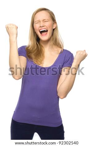 Woman clenching fists - stock photo