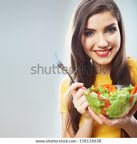 Woman close up smiling face, diet food concept