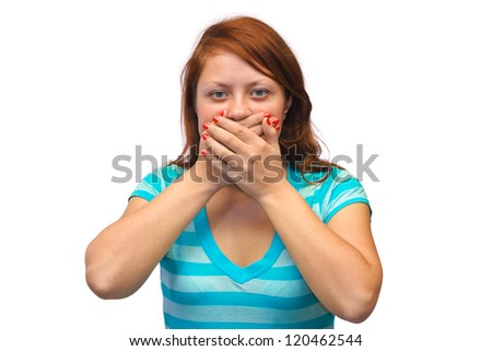 Woman closed mouth isolated on white background - stock photo