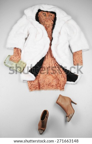 woman cloth set on floor  - stock photo