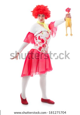 Woman clown with red hair on a white background