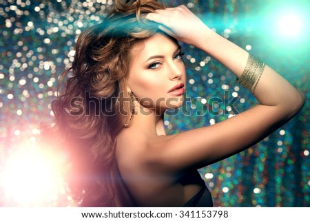 Woman club lights party background Dancing girl Long hair. Waves