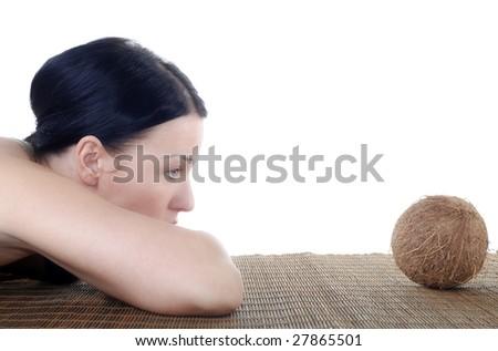 Woman & Coconut - stock photo