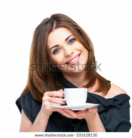 woman coffee cup isolated close up portrait - stock photo