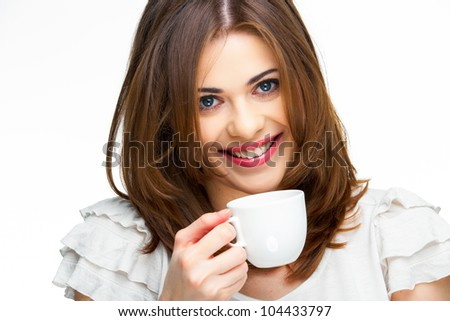 woman coffee cup isolated close up portrait