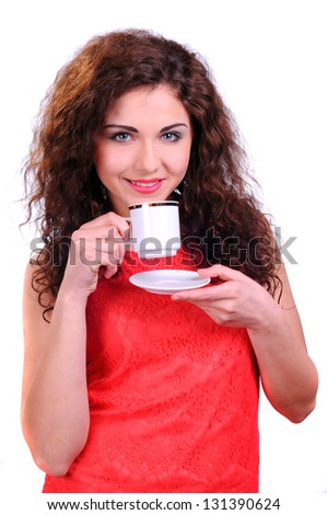 woman coffee cup isolated on white