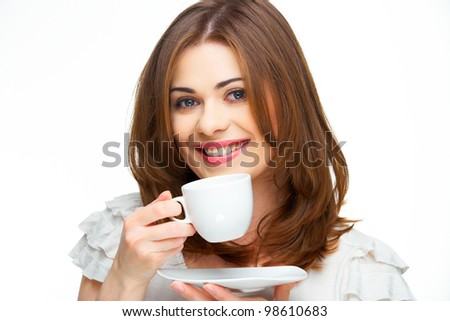 woman coffee cup isolated portrait