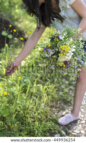 Woman collects flowers in the forest