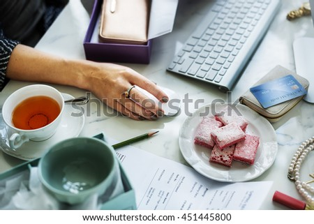 Woman Connecting Computer Online Shopping Concept - stock photo