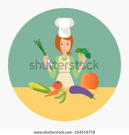 Woman cook in the kitchen preparing vegetables