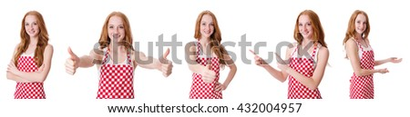 Woman cook isolated on the white