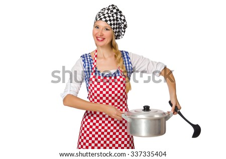 Woman cook isolated on the white background - stock photo