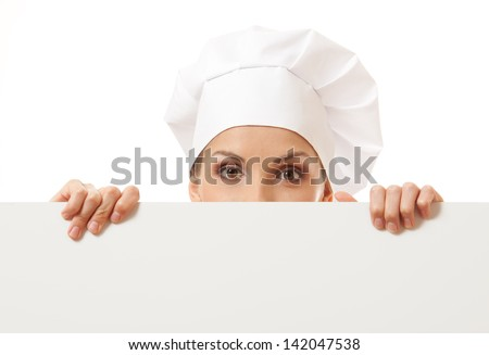 Woman cook looking over paper sign billboard. Isolated on white