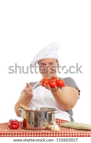 Woman cooking a delicious meal