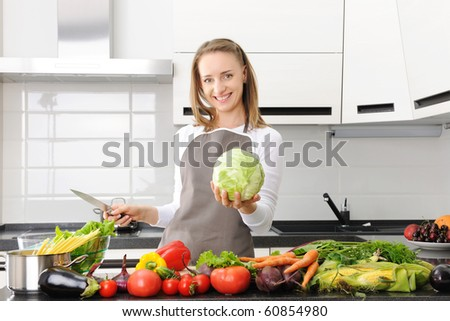 Woman cooking in modern kitchen