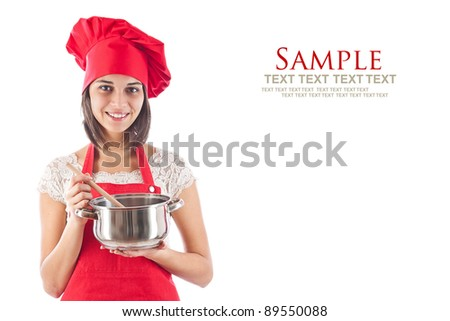 Woman cooking, isolated on white - stock photo