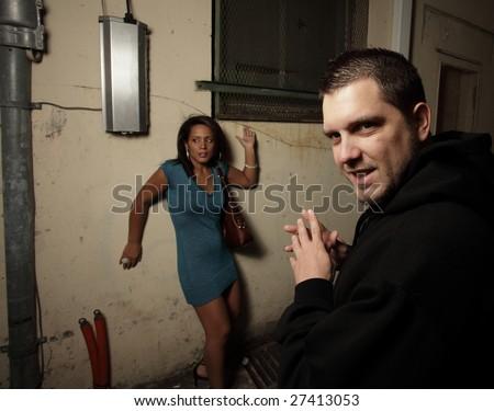 Woman cornered - stock photo