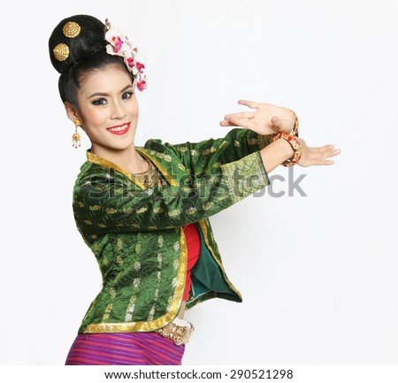Woman costume northern Thailand shows a dance on a white background. - stock photo