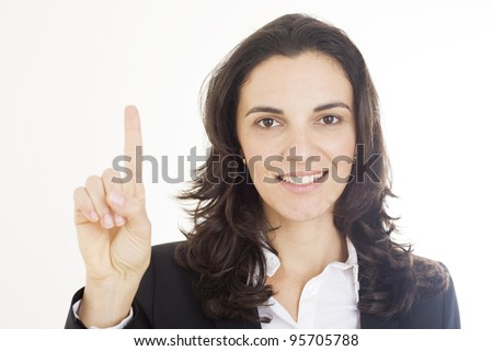 woman counting with her fingers the number one