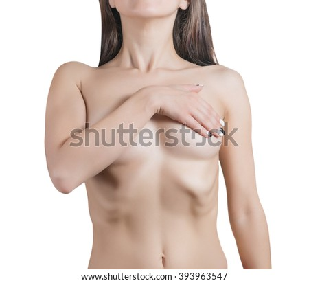 Woman covering her breast. Isolated on white background.