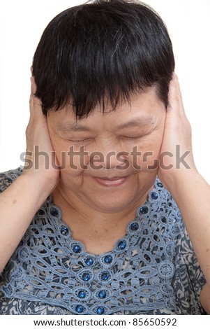 Woman covering her ears - Hear no evil