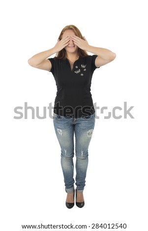 Woman covering her eyes with her hands against a white background - stock photo