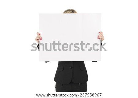 Woman covering her face with a blank billboard against a white background