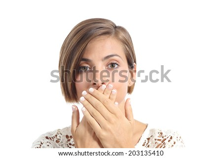Woman covering her mouth because bad breath isolated on a white background      - stock photo