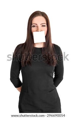 Woman Covering Her Mouth With Blank Placard against a white background - stock photo