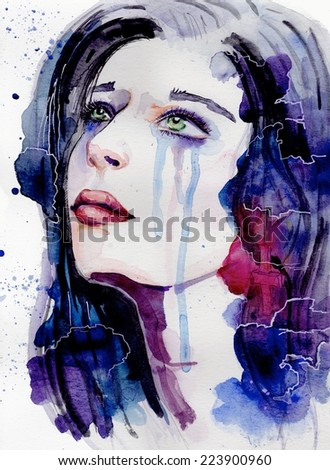 Woman crying face. Hand painted fashion illustration. Amazing colourful beautiful woman water-colour artwork. Watercolor portrait of beautiful girl | handmade | self made | painting - stock photo