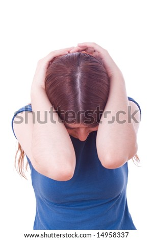 Woman crying isolated on a white background - stock photo