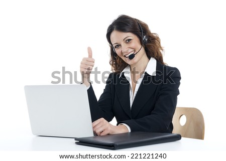 Woman customer service worker, call center smiling operator, on white background - stock photo
